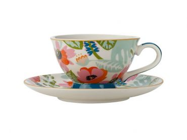Teas & C's Glastonbury Footed Cup & Saucer 200ML Alpinia White