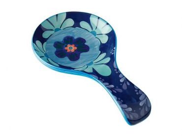 Majolica Spoon Rest Blue