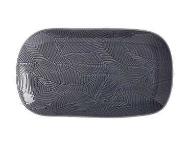 Panama Oblong Platter 34x19cm Grey Gift Boxed