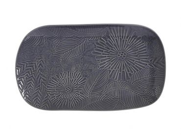 Panama Oblong Platter 39x23cm Grey Gift Boxed