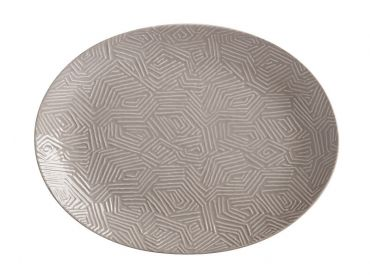 Dune Oval Platter 36x27cm Taupe Gift Boxed