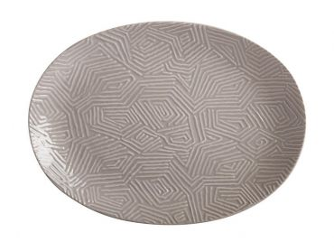 Dune Oval Platter 41x30cm Taupe Gift Boxed