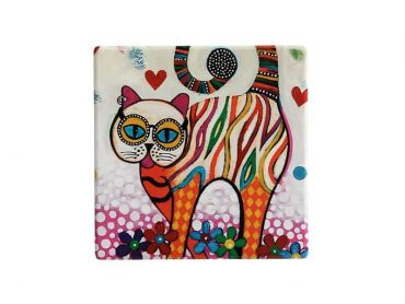 Smile Style Ceramic Tile Coaster Tabby 9cm