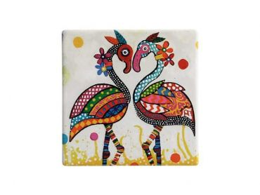 Smile Style Ceramic Tile Coaster Flamboyant 9cm