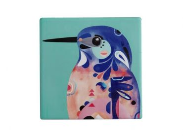 Pete Cromer Ceramic Square Tile Coaster Azure Kingfisher 9.5cm