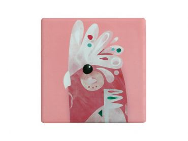 Pete Cromer Ceramic Square Tile Coaster Galah 9.5cm