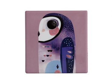 Pete Cromer Ceramic Square Tile Coaster Owl 9.5cm