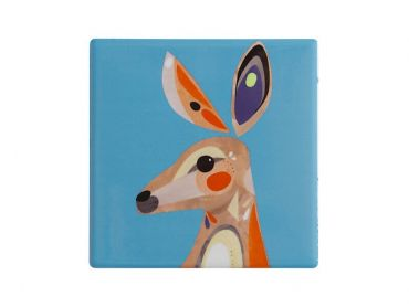 Pete Cromer Ceramic Square Tile Coaster Kangaroo 9.5cm