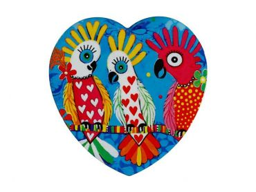 Love Hearts Ceramic Heart Coaster 10cm Chatter