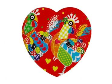 Love Hearts Ceramic Heart Coaster 10cm Chicken Dance