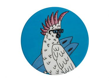 Mulga the Artist Ceramic Round Coaster 10.5cm Cockatoo