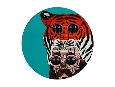 Mulga the Artist Ceramic Round Coaster 10.5cm Tiger Man