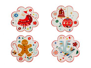 Festive Friends Ceramic Coaster 10.5cm Set of 4