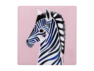 Pete Cromer Wildlife Ceramic Square Coaster 9.5cm Zebra