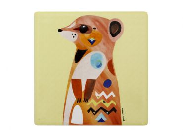 Pete Cromer Wildlife Ceramic Square Coaster 9.5cm Meerkat