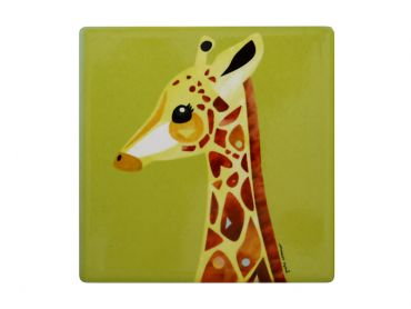 Pete Cromer Wildlife Ceramic Square Coaster 9.5cm Giraffe