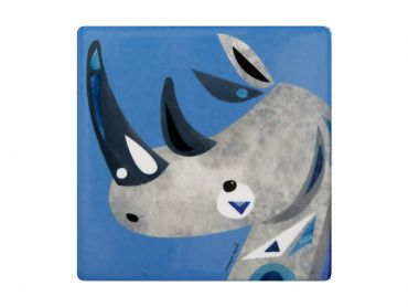 Pete Cromer Wildlife Ceramic Square Coaster 9.5cm Rhino