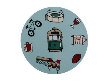 Megan McKean Cities Ceramic Round Coaster 10.5cm Melbourne