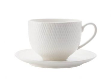 White Basics Diamonds Tea Cup & Saucer 220ML