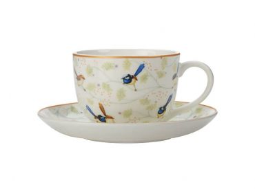 Cashmere Wrens & Friends Cup & Saucer 250ML Superb Fairy & Purple-crowned Fairy Wren