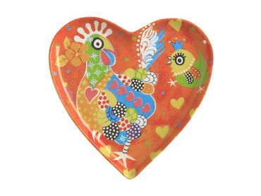 Love Hearts Heart Plate 15.5cm Chicken Dance