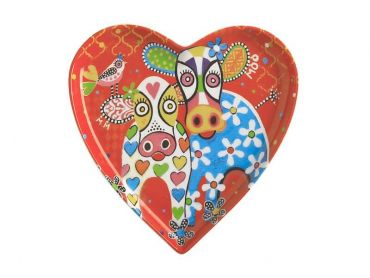Love Hearts Heart Plate 15.5cm Happy Moo Day