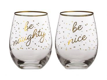 Celebrations Stemless Glass 500ML Set of 2 Be Naughty/Be Nice