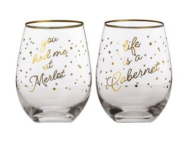Celebrations Stemless Glass 500ML Set of 2 You Had Me At Merlot/Life Is A Cabernet