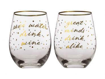 Celebrations Stemless Glass 500ML Set of 2 Save Water, Drink Wine/Great Minds Drink Alike
