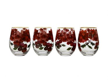 Poinsettia Stemless Wine 500ML Glass Set of 4 Gift Boxed