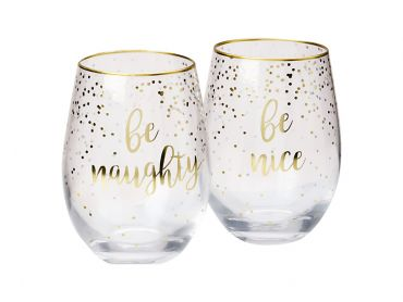 Celebrations Stemless Glass 500ML Set of 2 Naughty Nice Gift Boxed