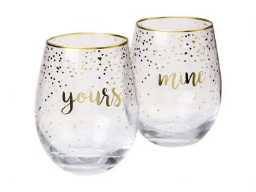 Celebrations Stemless Glass 500ML Set of 2 Mine Yours Gift Boxed