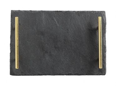 Mezze Slate Tray 30x20cm Gold Handle