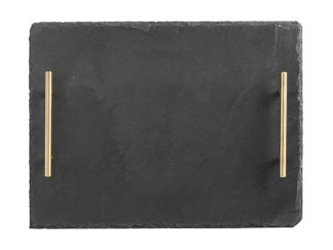 Mezze Slate Tray 40x30cm Gold Handle