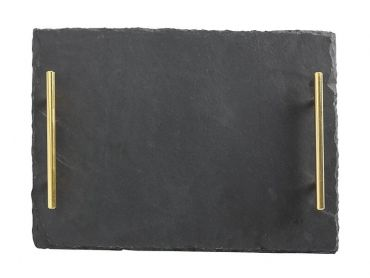 Mezze Slate Tray 36x26cm Gold Handle