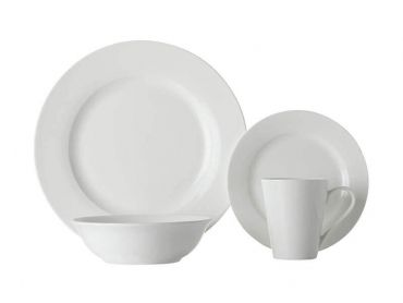 White Basics Cosmopolitan Rim Dinner Set 16 Piece