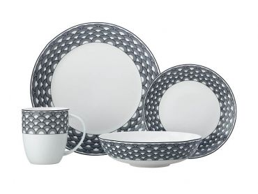 Harlequin Coupe Dinner Set 16 Piece Black Gift Boxed