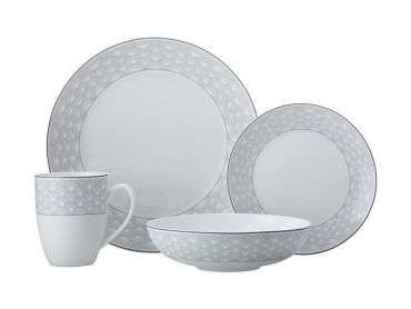 Harlequin Coupe Dinner Set 16 Piece Grey Gift Boxed