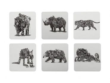 Marini Ferlazzo Animal Earth Coaster Set Of 6