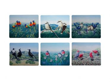 Birds of Australia 10 year Anniversary Placemat Asst 34x26.5cm Set of 6
