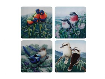 Birds of Australia KC 10yr Anniversary Cork Back Coaster 10.5cm Set of 4 Gift Boxed