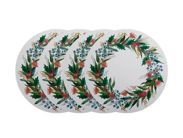 Holly Berry Cork Back Placemat 32cm Round Set of 4 Gift Boxed