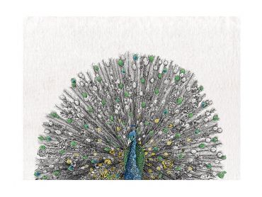 Marini Ferlazzo Birds Tea Towel 50x70cm Indian Peacock