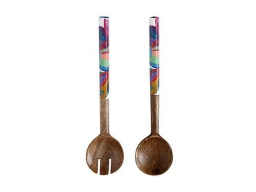 Samba Mango Wood Salad Servers Enamel Finish 31cm