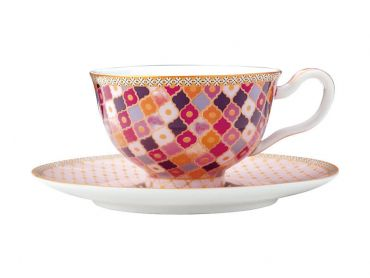 Teas & C's Kasbah Footed Cup & Saucer 200ML Rose Gift Boxed