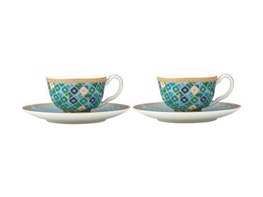 Teas & C's Kasbah Demi Cup & Saucer 85ML Set of 2 Mint Gift Boxed
