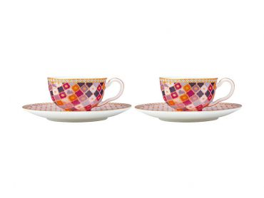 Teas & C's Kasbah Demi Cup & Saucer 85ML Set of 2 Rose Gift Boxed