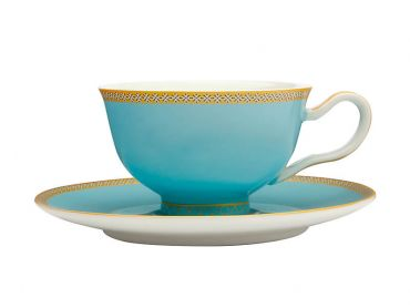 Teas & C's Classic Footed Cup & Saucer 200ML Turquoise Gift Boxed