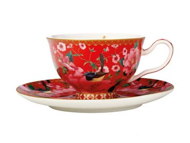 Teas & C's Silk Road Footed Cup & Saucer 200ML Cherry Red Gift Boxed