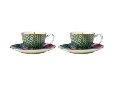 Teas & C's Silk Road Demi Cup & Saucer 85ML Set of 2 Aqua Gift Boxed